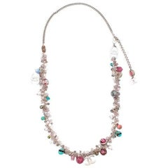Chanel Silver-Tone Floral Charm Necklace