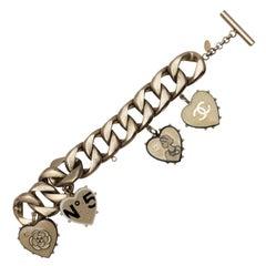 Chanel Silver-Tone Spring 2006 Enamel Heart Charm Bracelet