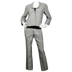 Chanel Silver Tweed Jacket & Silver Pants sz 38