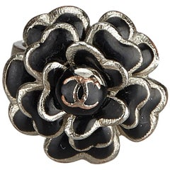Chanel Silver  with Black  Metal Camellia lic Ring France w/ Box