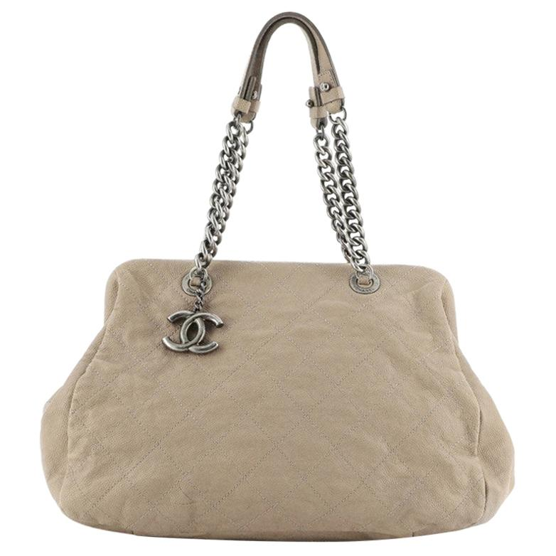 Chanel Simply CC Bowling Bag Quilted Caviar Large