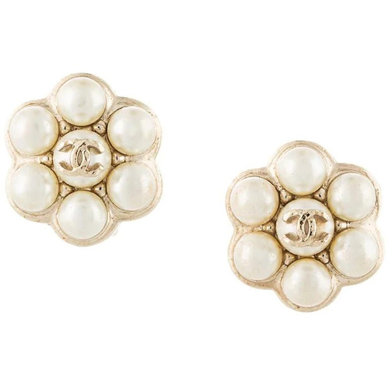 Women's Chanel Simulated Pearl Clip Earrings For Sale