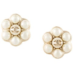 Chanel Simulated Pearl Clip Earrings