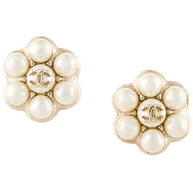 Chanel Simulated Pearl Clip Earrings For Sale