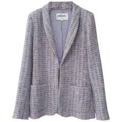 Chanel Single Breasted Lavender Tweed Jacket Blazer