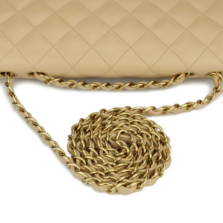 CHANEL Single Flap Jumbo Bag Beige Clair Caviar with Gold Hardware 2009 For Sale 8