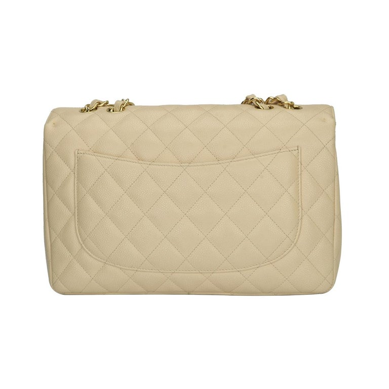 Women's or Men's CHANEL Single Flap Jumbo Bag Beige Clair Caviar with Gold Hardware 2009 For Sale