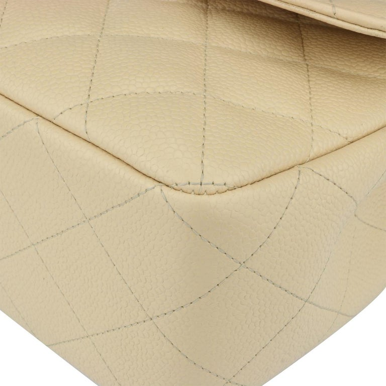 CHANEL Single Flap Jumbo Bag Beige Clair Caviar with Gold Hardware 2009 For Sale 5
