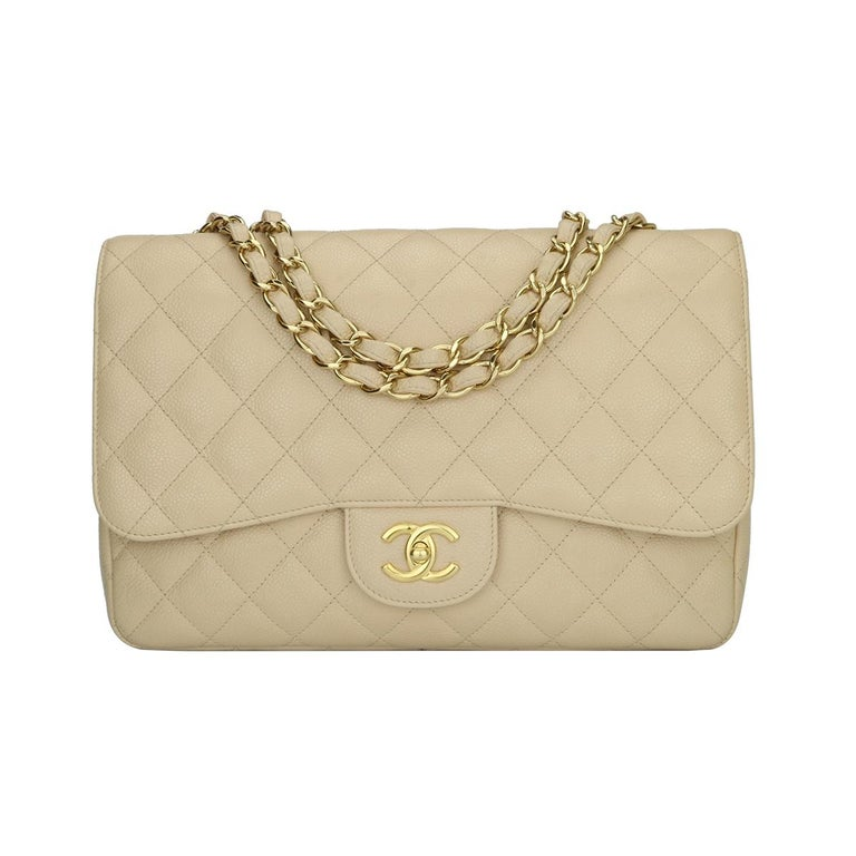CHANEL Single Flap Jumbo Bag Beige Clair Caviar with Gold Hardware 2009 For Sale