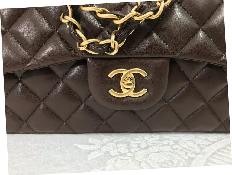 Chanel Single Flap Jumbo Brown Quilted Leather Handbag 2010-11 NWOT 12
