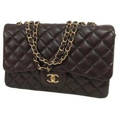 Chanel Single Flap Jumbo Brown Quilted Leather Handbag 2010-11 NWOT
