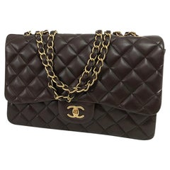 Chanel Single Flap Jumbo Chocolate Brown Leather Handbag