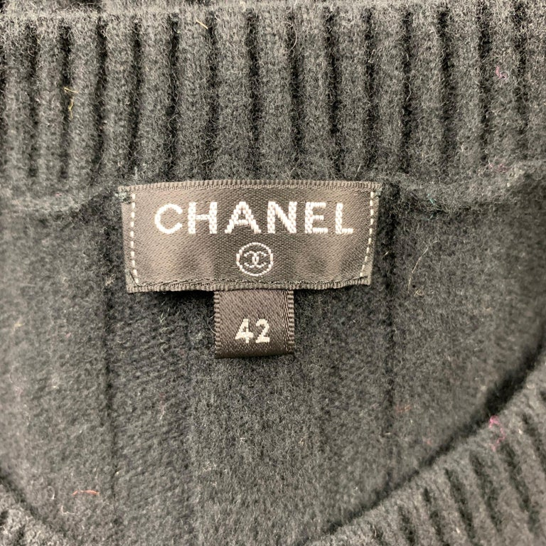 CHANEL Size 10 Black Knitted Pleated Wool Crew-Neck Sweater Dress For Sale 1