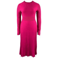 CHANEL Size 10 Fuchsia Knitted Pleated Wool Crew-Neck Sweater Dress