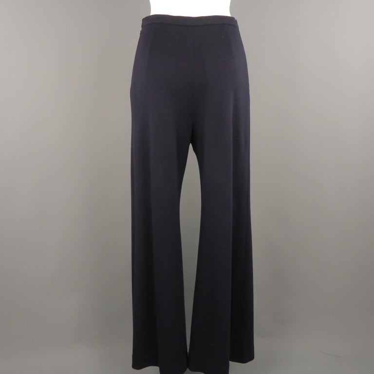 CHANEL Size 10 Navy Wool Jersey Wide Leg Silk Lined Pants In Good Condition For Sale In San Francisco, CA