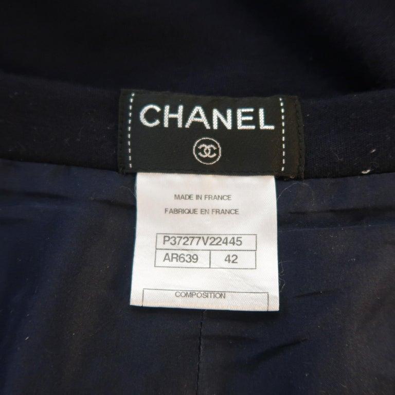 Women's  CHANEL Size 10 Navy Wool Jersey Wide Leg Silk Lined Pants For Sale