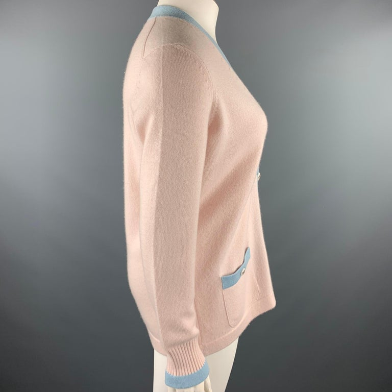Women's CHANEL Size 10 Pink Knitted Blue Trim Cashmere Cardigan For Sale