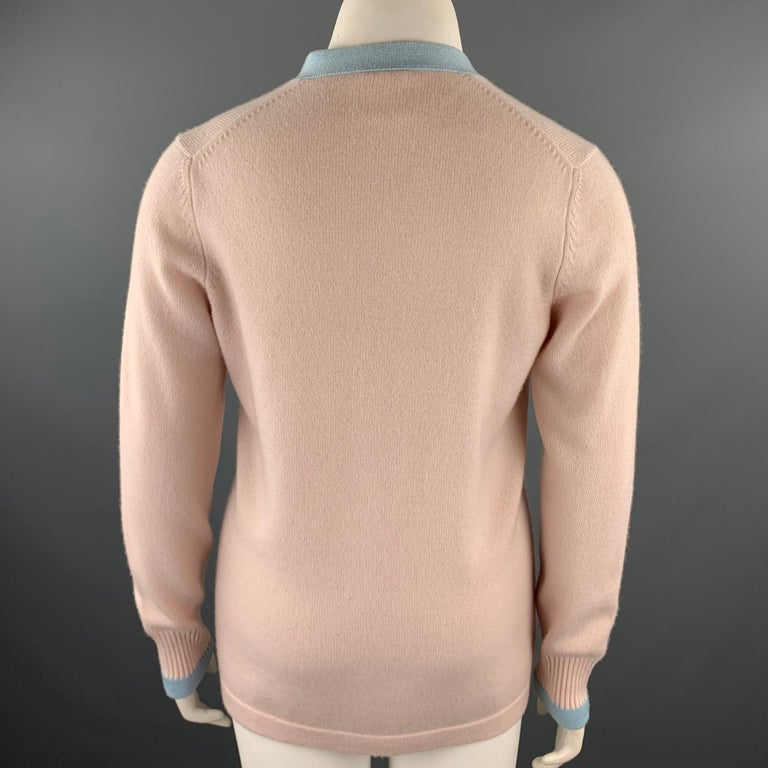 CHANEL Size 10 Pink Knitted Blue Trim Cashmere Cardigan For Sale 1