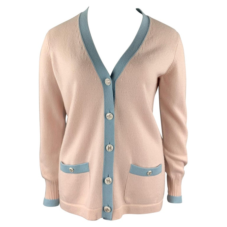 CHANEL Size 10 Pink Knitted Blue Trim Cashmere Cardigan For Sale
