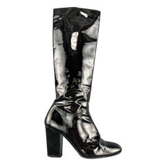 CHANEL Size 10.5 Black Patent Leather CC Knee High Fur Lined Boots