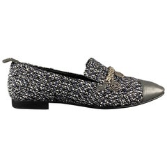 CHANEL Size 10.5 Grey Tweed Loafer Flats