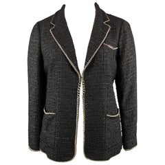 CHANEL Size 14 Black Metallic Tweed Silver Tone Chain Trim Blazer Jacket