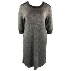 CHANEL Size 14 Silver Knitted Textured Wool Blend Shift Dress