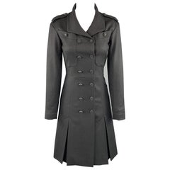 CHANEL Size 2 Grey Wool / Cashmere Double Breasted Epaulet CC Button Coat
