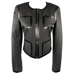 CHANEL Size 6 Black Snake Piping Cropped Leather 04 P Jacket