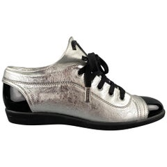 CHANEL Size 7.5 Silver & Black Leather Patent Leather Sneakers