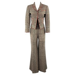 CHANEL Size 8 Black & White Tweed High Rise Wide Leg Pants Suit