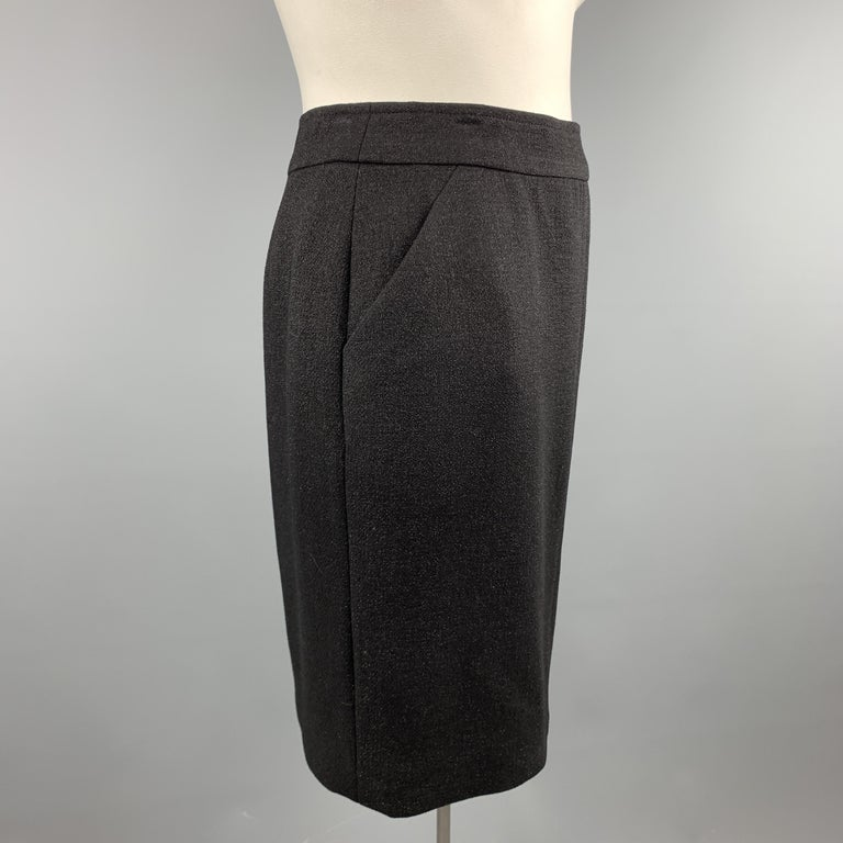 CHANEL Size L Black Sparkle Wool Pencil Skirt In Excellent Condition For Sale In San Francisco, CA