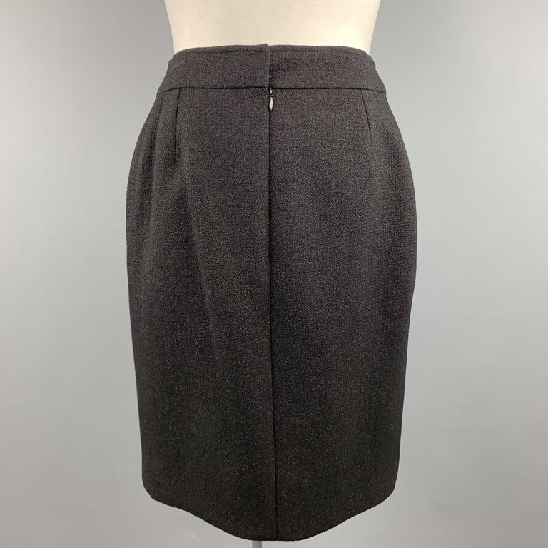 Women's CHANEL Size L Black Sparkle Wool Pencil Skirt For Sale