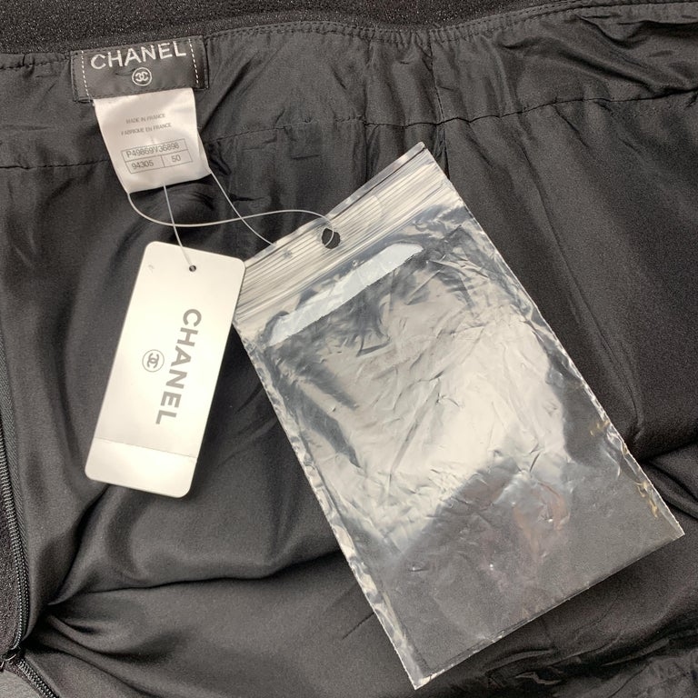 CHANEL Size L Black Sparkle Wool Pencil Skirt For Sale 2