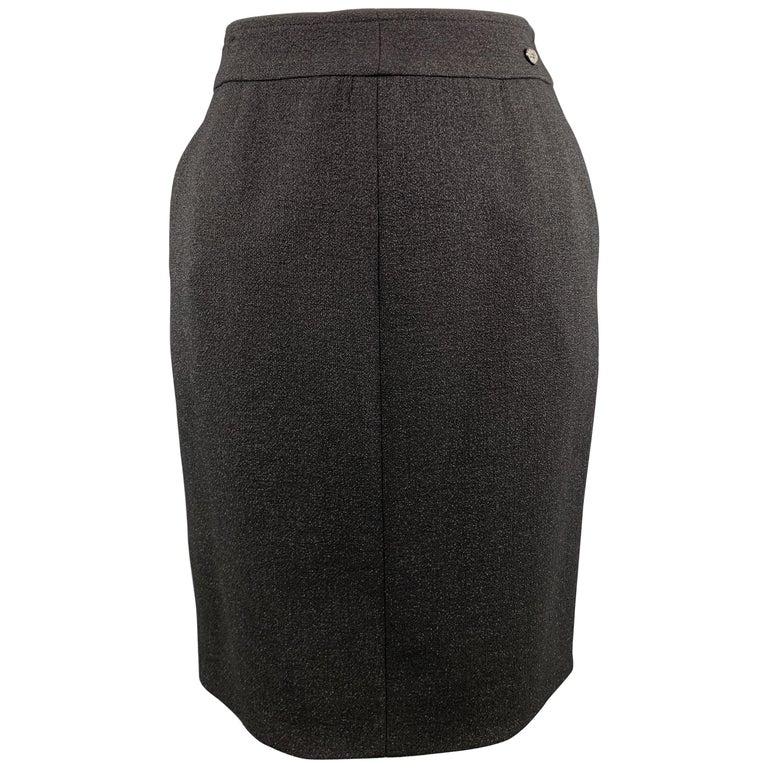 CHANEL Size L Black Sparkle Wool Pencil Skirt For Sale