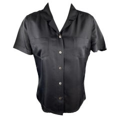 CHANEL Size M Black Silk Short Sleeve Pocket Blouse