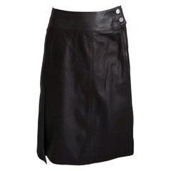 Chanel Skirt Asymmetric Panel Lambskin Leather Mocha Brown 99P Sz 36