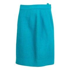 CHANEL sky blue wool blend Straight Skirt 42 L
