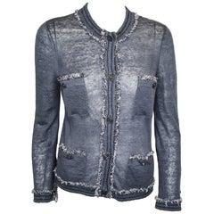 Chanel Slate Blue Silk and Linen Blend Cardigan Size 36 EU