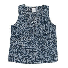 CHANEL Sleeveless Blouse in Navy and White Monogram Cotton Size 40FR