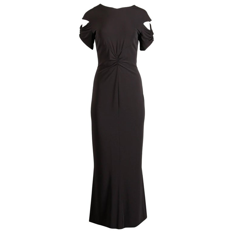 Black Chanel Slinky Jersey Knit Evening Gown/ Dress with Cut Out Sleeves and CC Button For Sale