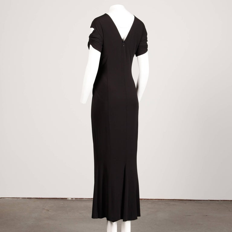 Women's Chanel Slinky Jersey Knit Evening Gown/ Dress with Cut Out Sleeves and CC Button For Sale