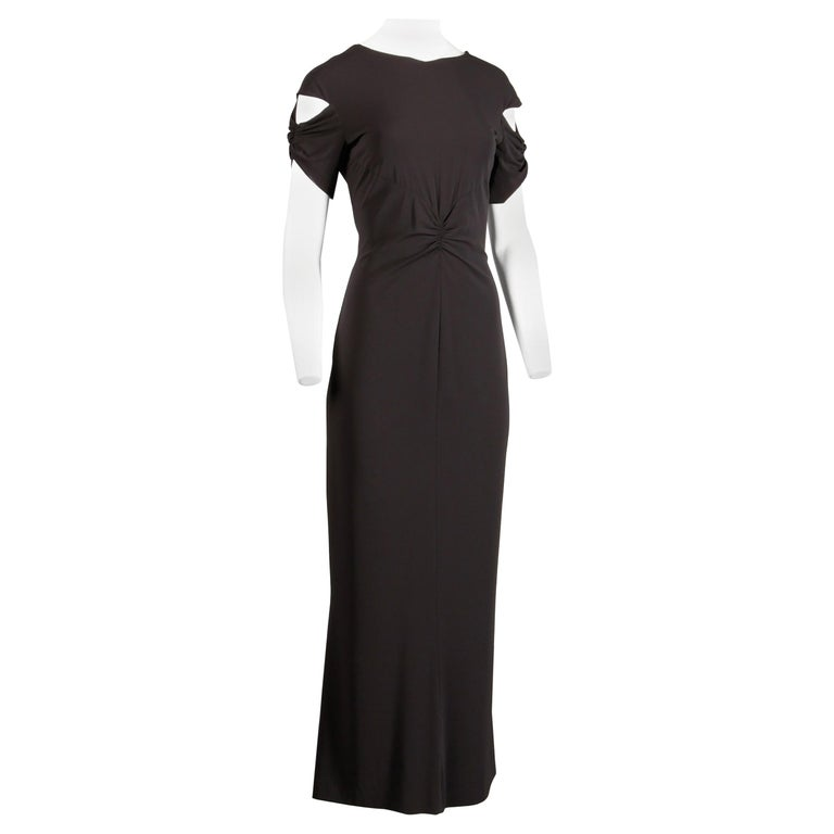 Chanel Slinky Jersey Knit Evening Gown/ Dress with Cut Out Sleeves and CC Button For Sale