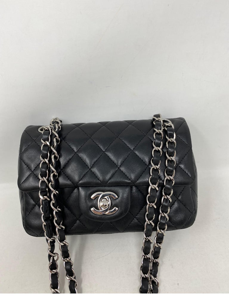 Chanel Small Black Crossbody Bag. Silver hardware. Good condition. The most wanted size by Chanel. Very hard to find. Lambskin leather. Don't miss out on this one. Includes authenticity card. Guaranteed authentic.