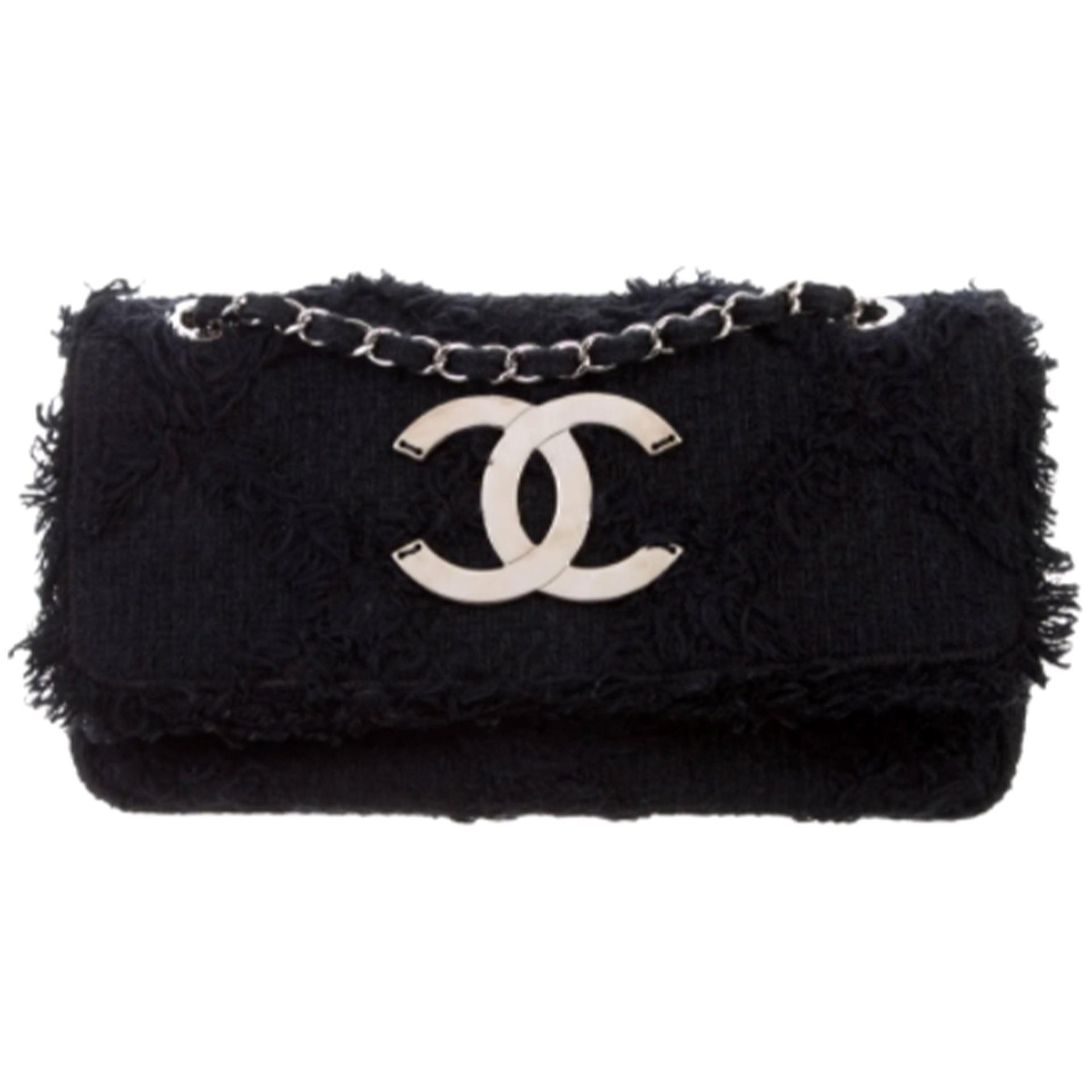 Chanel Small Black Tweed Crochet Fringe Nature Organic Flap Bag