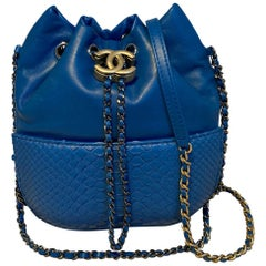 Chanel Small Blue Leather and Python Gabrielle Bucket Bag