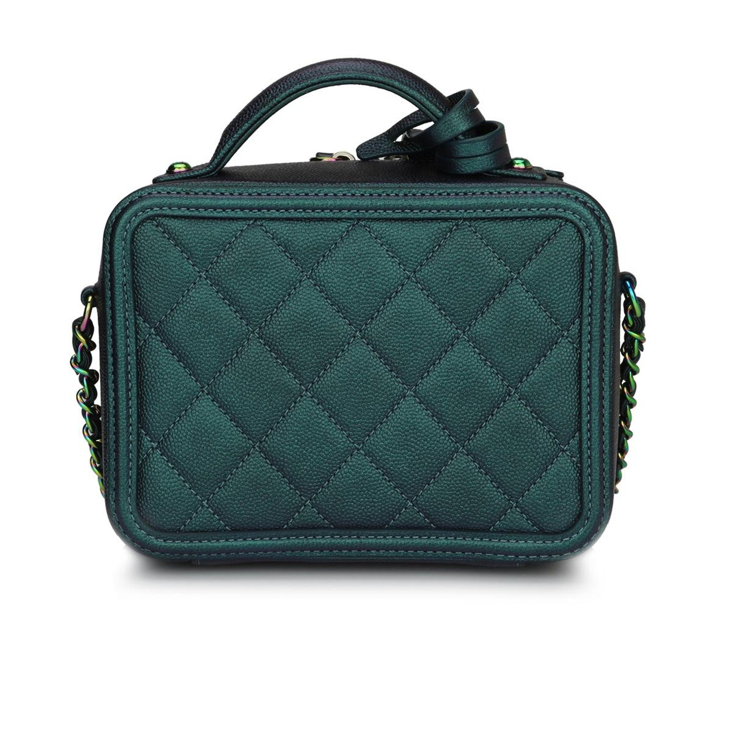 4972292db7eeb4 CHANEL Small CC Filigree Vanity Case Iridescent Dark Turquoise Caviar w/RHW  2018 For Sale at 1stdibs