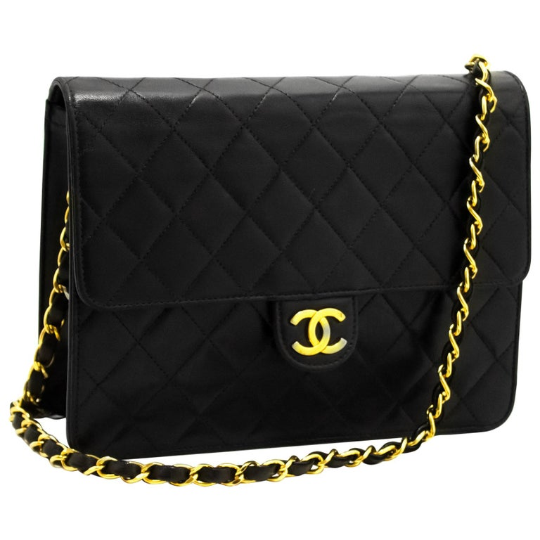 4476ba325111 CHANEL Small Chain Shoulder Bag Black Clutch Flap Quilted Lambskin For Sale