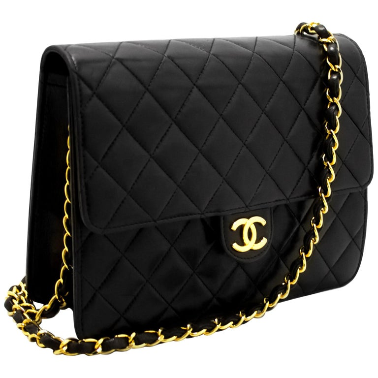 90f7b687f9c7 CHANEL Small Chain Shoulder Bag Black Clutch Flap Quilted Lambskin For Sale