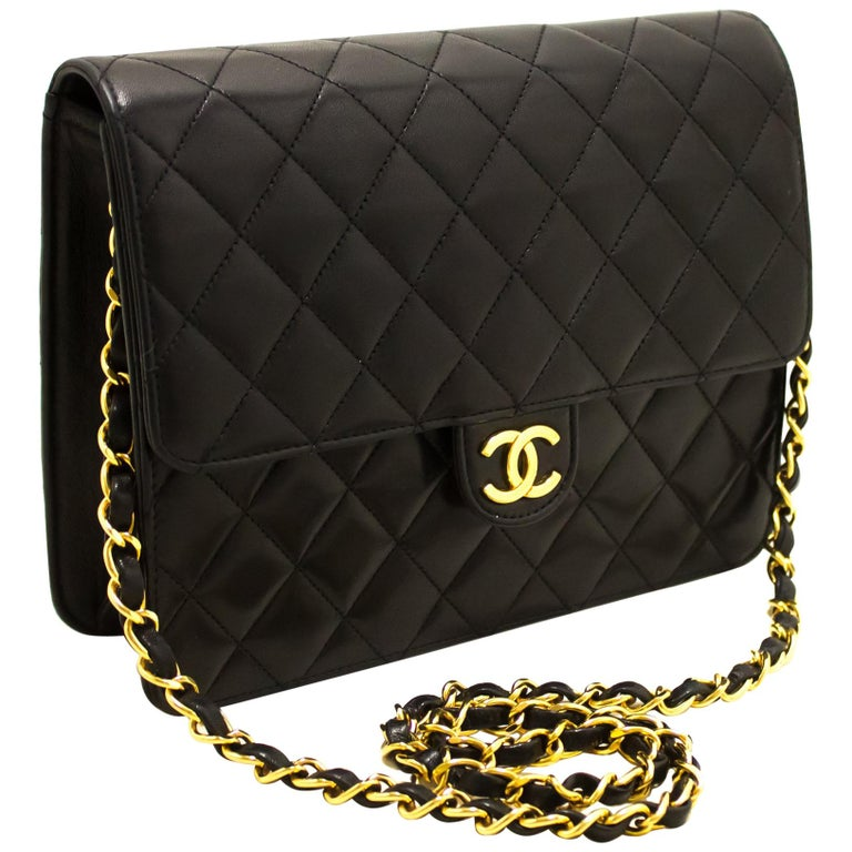 3308896e1121 CHANEL Small Chain Shoulder Bag Black Clutch Flap Quilted Lambskin For Sale